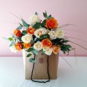 Rose - Apricot and Cream Posie in a Bag