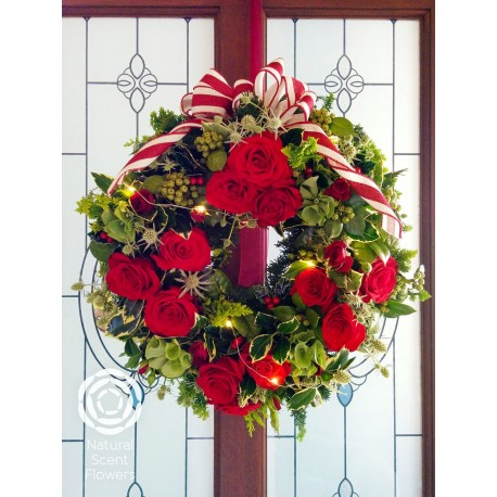 Red Christmas Wreath with light