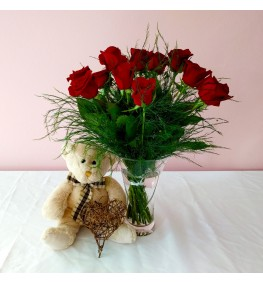 Roses and Teddy and heart