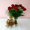 Roses - Red Roses Teddy Bear and Heart