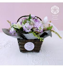 Small Fresh Flower Arrangement in a Basket