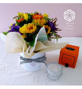 Vibrant Fresh Wrapped Posy and Handmade Soy Rose Candle